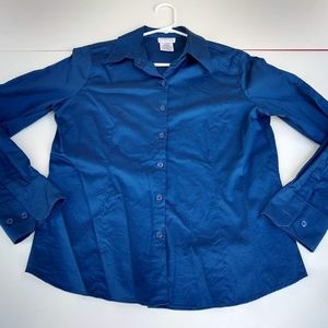 Like New Button Down Shirt Deep Blue Med